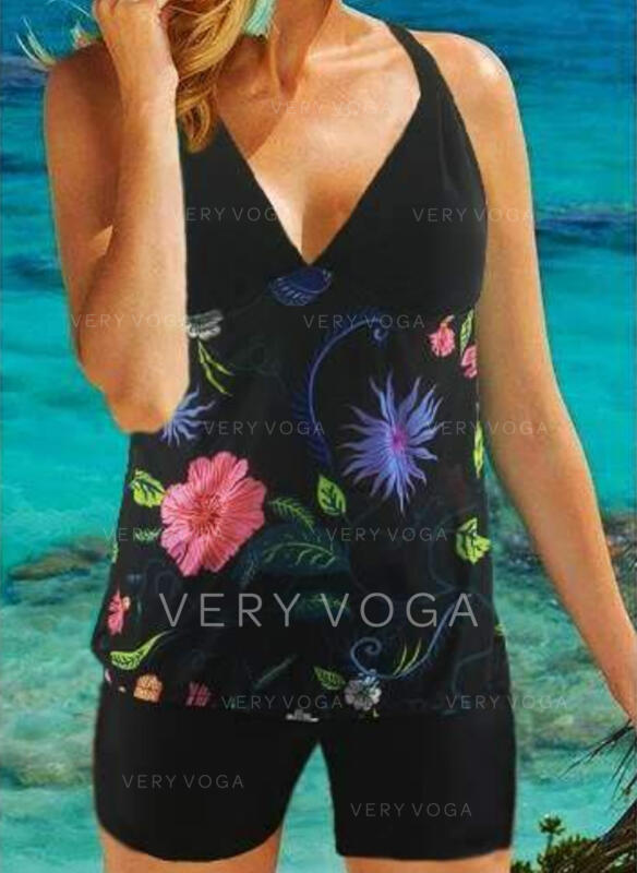 Floral Print Halter Elegant Tankinis Swimsuits