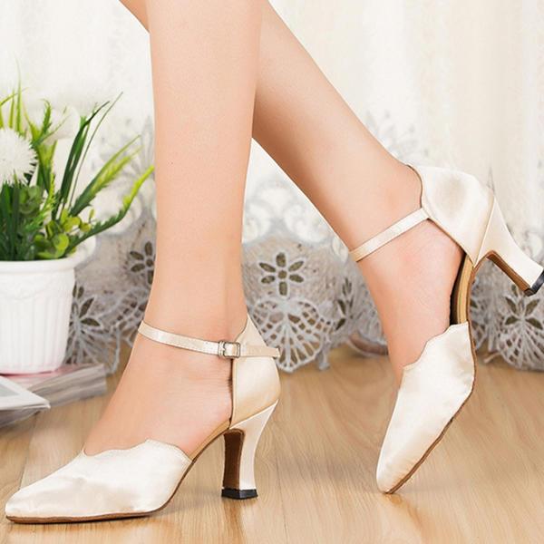 Naisten Tanssisali Sandaalit Silkki jossa Nilkka Hihna Latinalainen