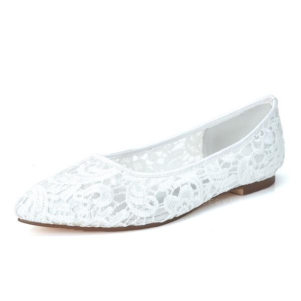 Women's Lace Flat Heel Closed Toe Flats