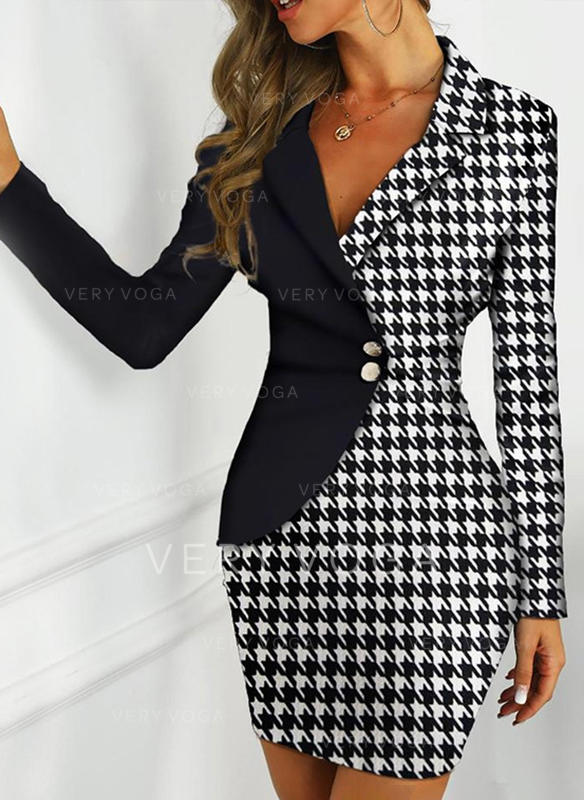 Plaid Long Sleeves Bodycon Above Knee Casual/Elegant Dresses
