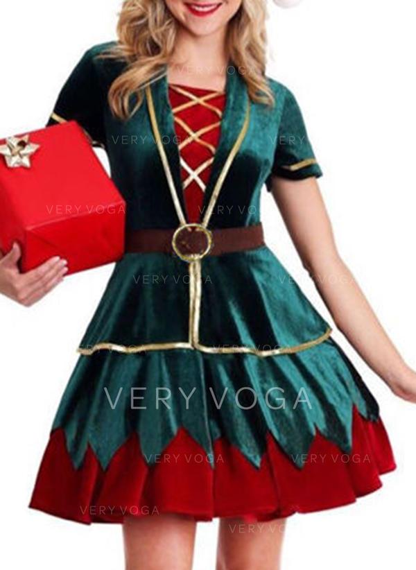 Χρωματιστό Μπλοκ Κοντά Μανίκια Φαρδύ Κάτω Πάνω Από Το Γόνατο Χριστούγεννα Сукні