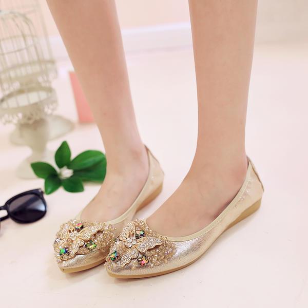 [US$ 23.99] Frauen PU Flascher Absatz Flache Schuhe Geschlossene Zehe mit Strass Schuhe VeryVoga