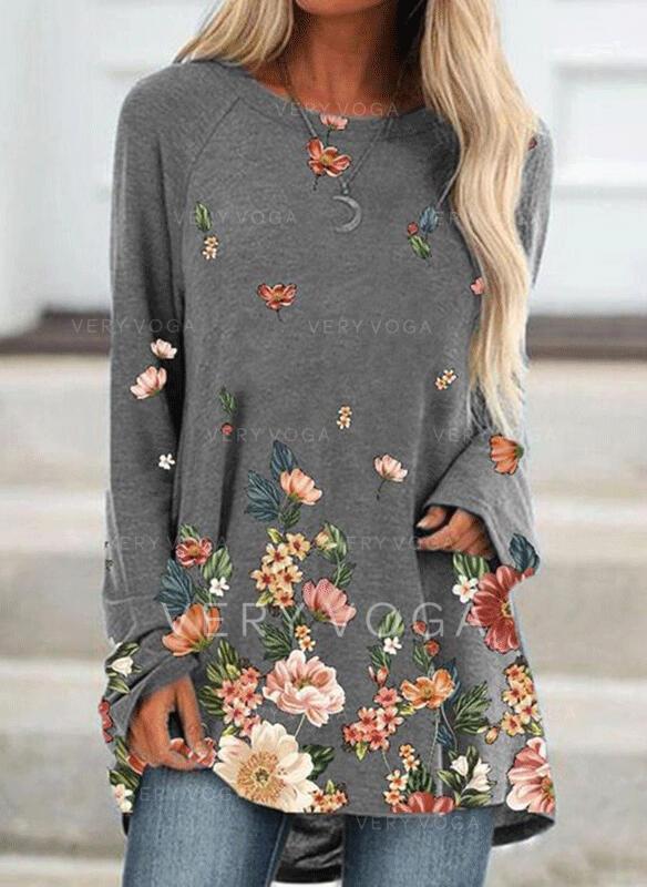 baskı Çiçek Yuvarlak boyun Uzun kollu Kazak