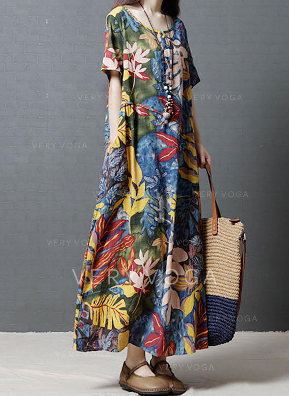Print/Floral 1/2 Sleeves Shift Casual/Boho/Vacation Maxi Dresses