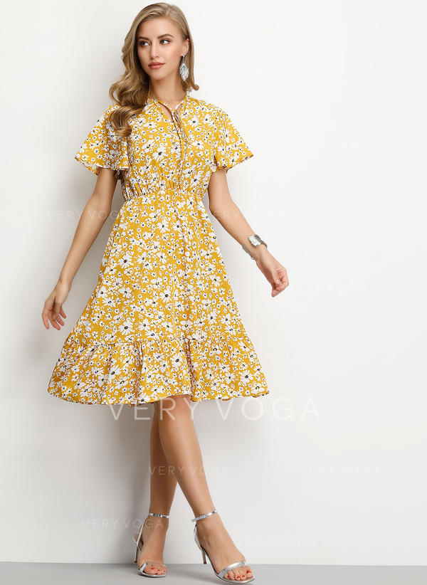 [US$ 17.99] Print/Floral Short Sleeves A,line Knee Length Casual/Elegant  Dresses , VeryVoga