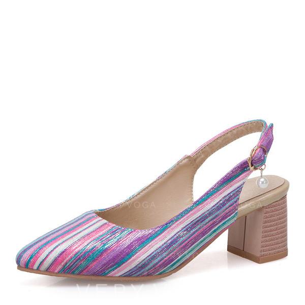 Women's Leatherette Chunky Heel Sandals Closed Toe Slingbacks shoes