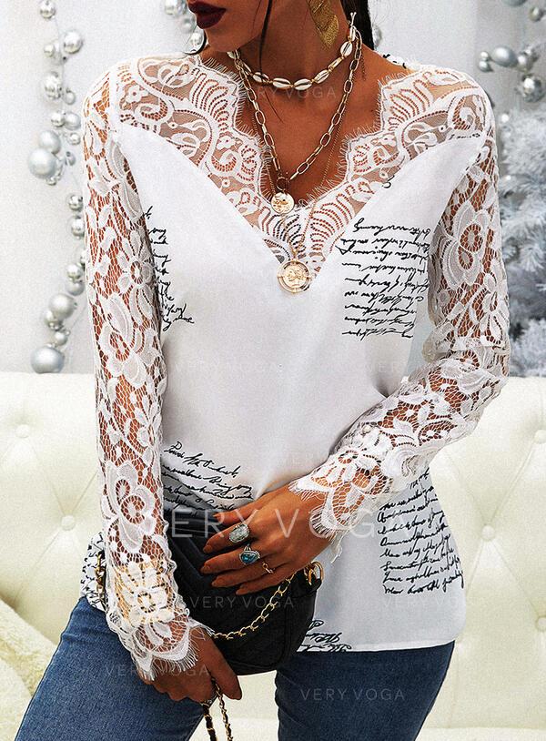 Drucken Spitze Buchstaben V-Ausschnitt Lange Ärmel Elegant Blusen