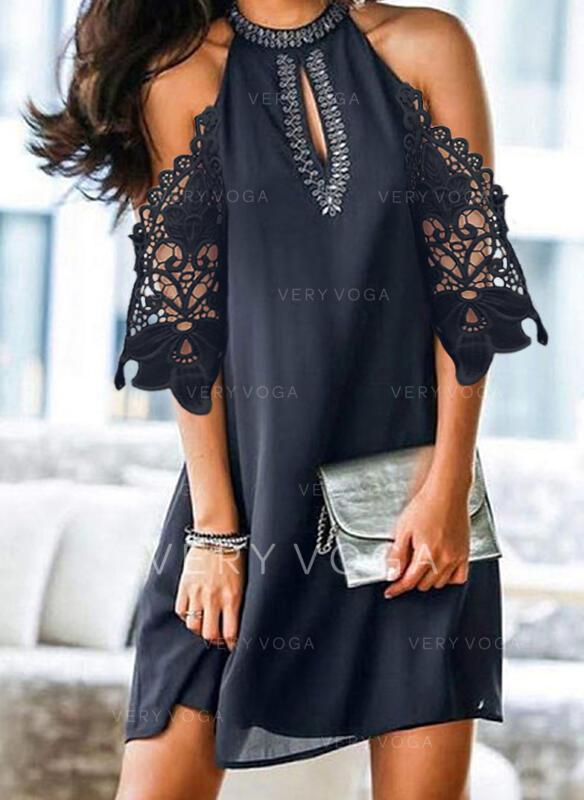 Blonder/Solid 1/2-ermer/Cold shoulder-ermer Kvinnedrakt Overknee Casual Kjoler