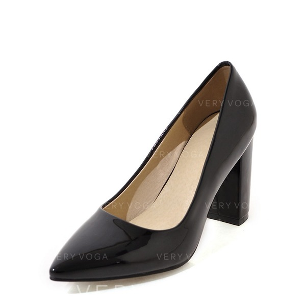 婦人向け パテントレザー チャンクヒール ポンプ クローズトゥー 靴