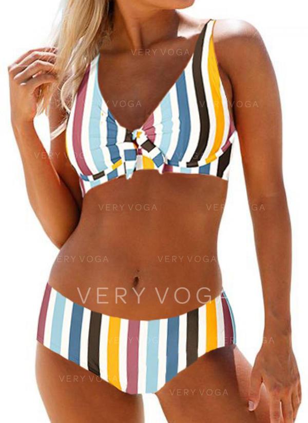 Lage Taille Streep Riem Schattig Bikini's Badpakken