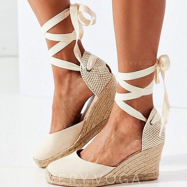 Жіночі ПУ Танкетка Закритий палець з Зашнурувати взуття