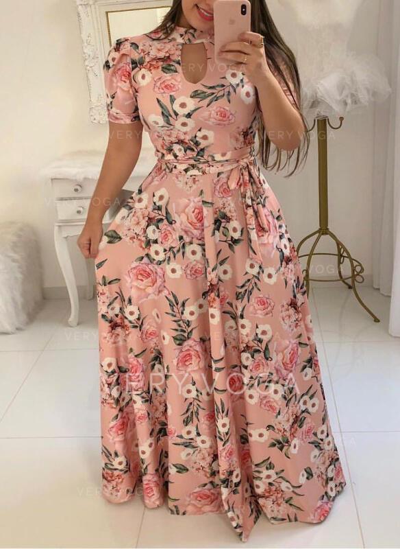 Плюс розмір Κοντά Μανίκια Короткий опис Μάξι Випадковий Відпустка сукня