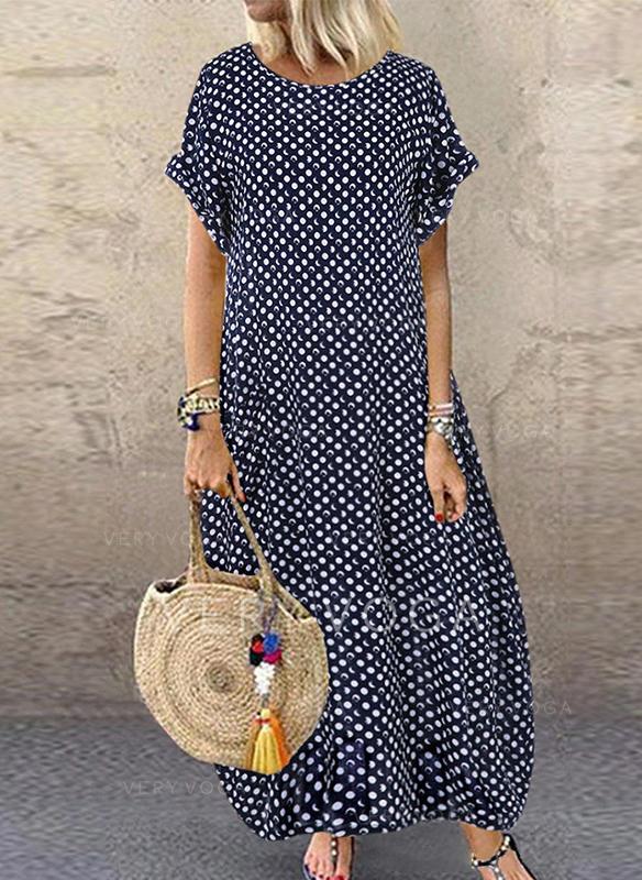 PolkaDot Short Sleeves Shift Maxi Casual Dresses