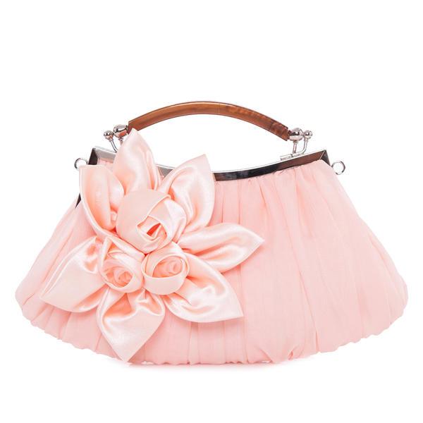 Elegant Satin/Silk With Flower/Ruffles Clutches/Wristlets