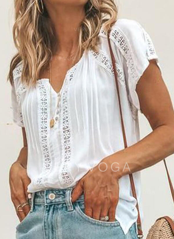 Solid Lace V-Neck Short Sleeves Casual Blouses (1003294350)