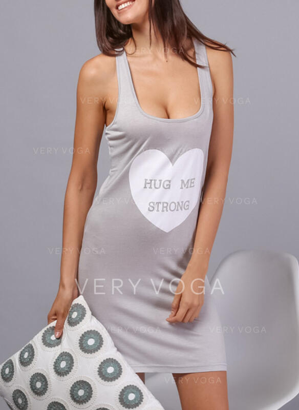 U-Neck Sleeveless Print Casual Night Dress