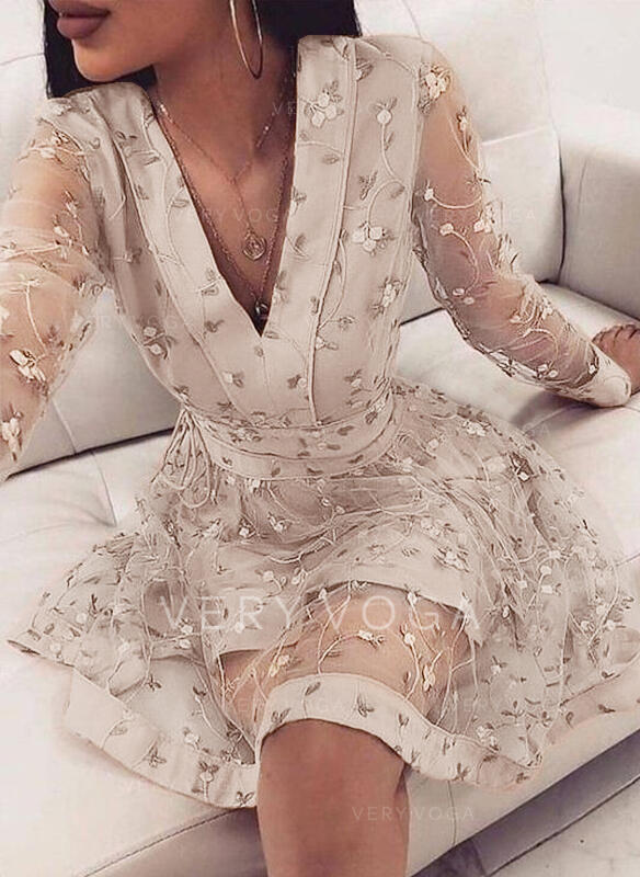 Floral Long Sleeves A-line Above Knee Elegant Skater Dresses