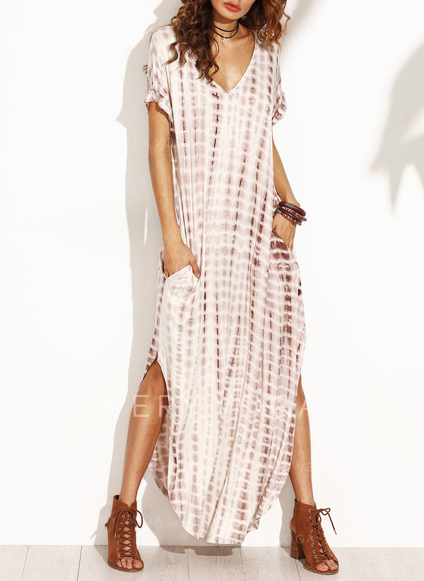 Print Short Sleeves Shift Casual/Boho/Vacation Maxi Dresses