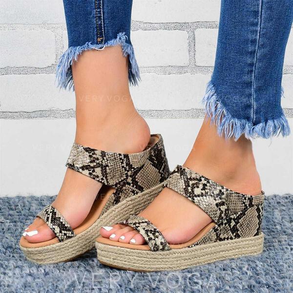 Mulheres PU Plataforma Sandálias Calços com Cor sólida sapatos