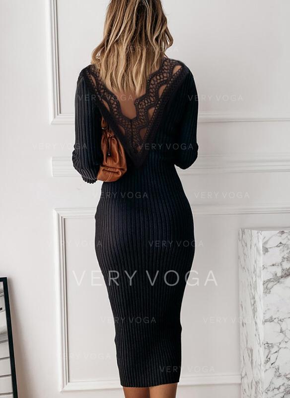 Koronka/Jednolita Długie rękawy Bodycon Ołówkowa Mała czarna/Casual/Elegancki Midi Sukienki