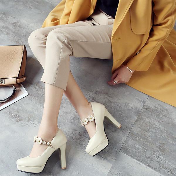 Women's Leatherette Stiletto Heel Pumps Platform With Buckle Flower shoes