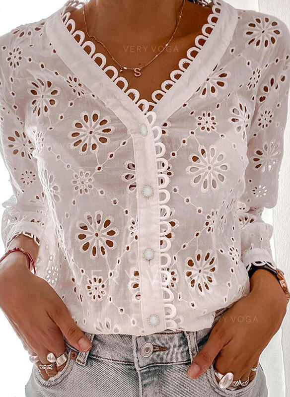 Solid Hollow-out V-Neck Long Sleeves Button Up Casual Shirt Blouses