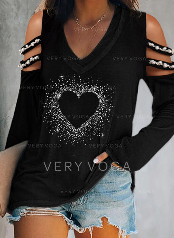 Print Sequins Beaded Heart Cold Shoulder Long Sleeves Casual Blouses