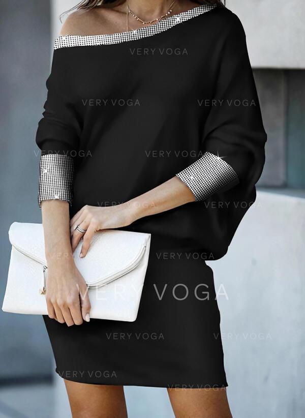 Einfarbig Lange Ärmel Etui Über dem Knie Freizeit Kleider