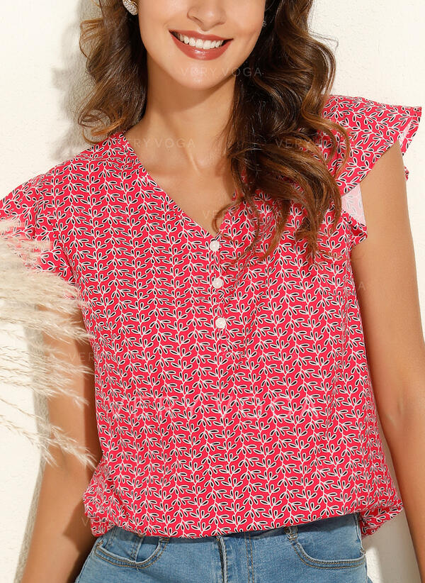 Print V-Neck Cap Sleeve Casual Blouses