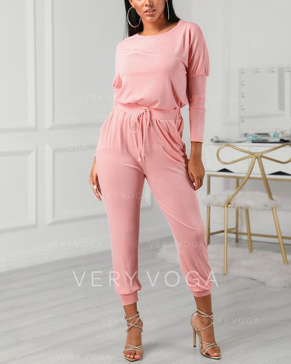 Ronde Hals Lange Mouwen Effen kleur In de mode Top & broek sets