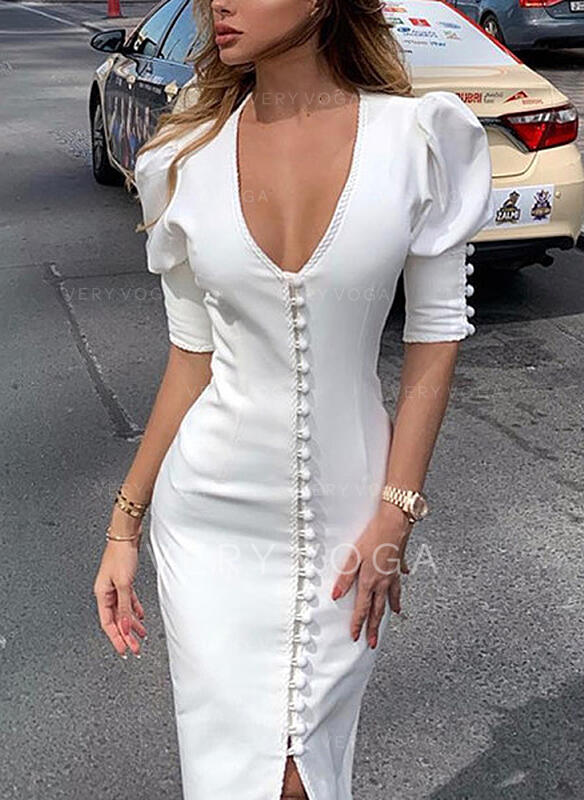 Solid Short Sleeves/Puff Sleeves Bodycon Party Midi Dresses