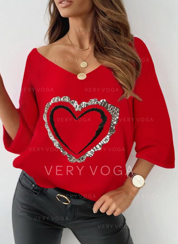 Corazón Impresión Lentejuelas Cuello en V Mangas 3/4 Camisetas