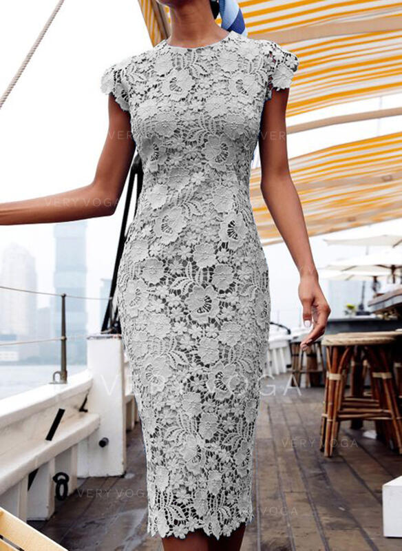 Lace/Solid Cap Sleeve Bodycon Pencil Casual/Elegant Midi Dresses