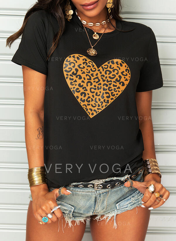 Print Leopard Heart Round Neck Short Sleeves Casual T-shirts