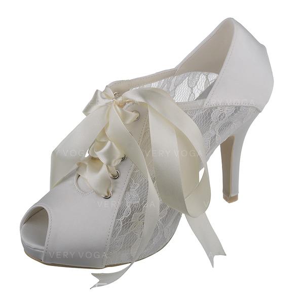 Frauen Spitze Satin Stöckel Absatz Peep Toe Absatzschuhe Sandalen mit Satin Schnürsenkel