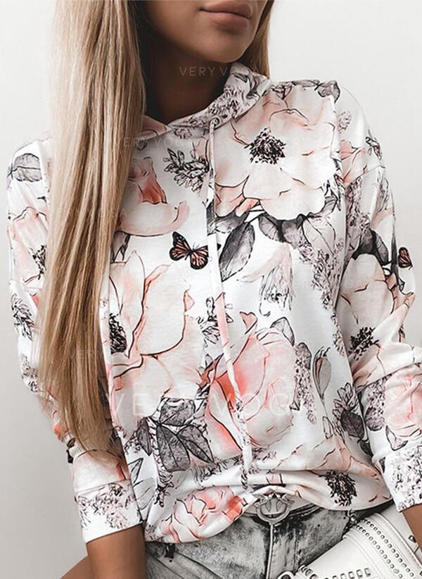 Çiçek Hayvan baskı Uzun kollu Kapüşonlu svetşört