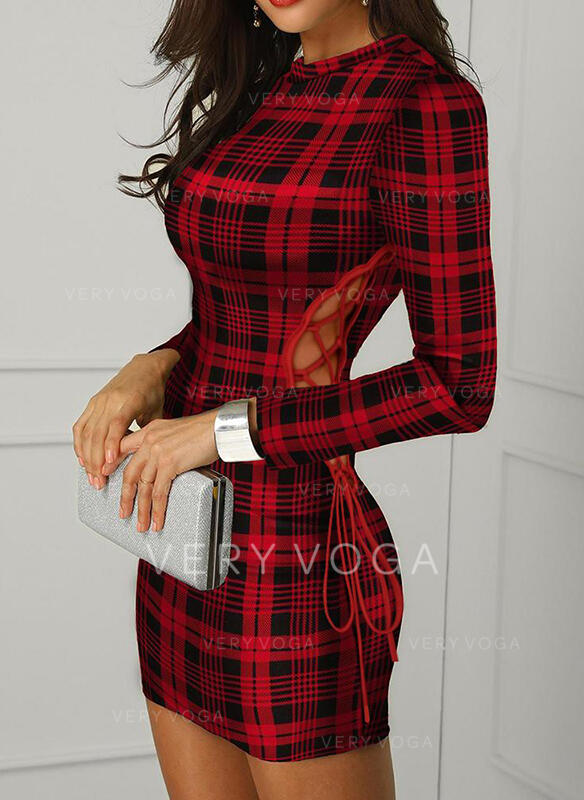 Plaid Long Sleeves Bodycon Above Knee Sexy/Party Dresses