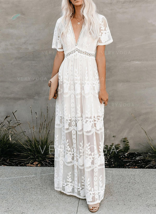 Lace/Solid Short Sleeves A-line Casual/Vacation Maxi Dresses
