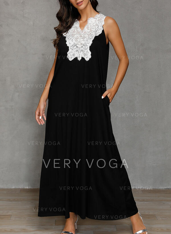 Lace/Solid Sleeveless Shift Tank Party/Elegant Maxi Dresses