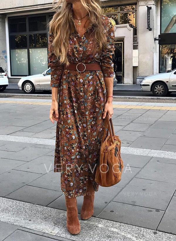 Nadrukowana/Kwiatowy Długie rękawy W kształcie litery A Casual/Elegancki Midi Sukienki