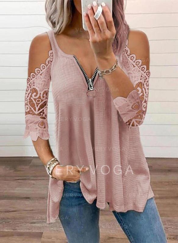 Solid Lace Knit Cold Shoulder 3/4 Sleeves Cold Shoulder Sleeve Elegant Blouses
