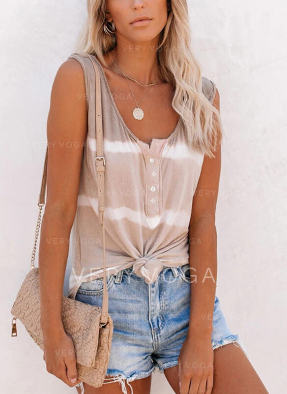 Striped Round Neck Sleeveless Button Up Tank Tops