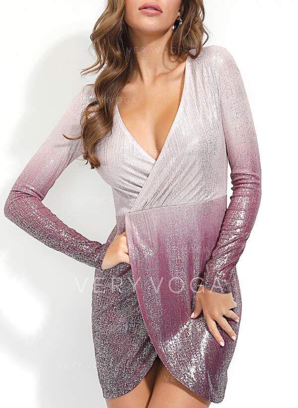 Sequins/Gradient Long Sleeves Bodycon Above Knee Party Dresses