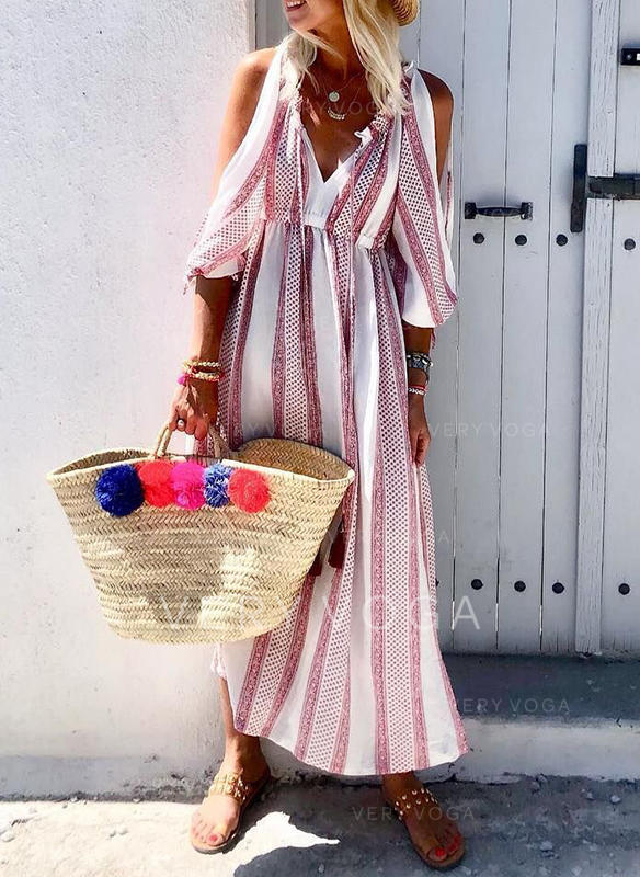 Print Cold Shoulder Sleeve A-line Casual/Vacation Maxi Dresses (199266050)