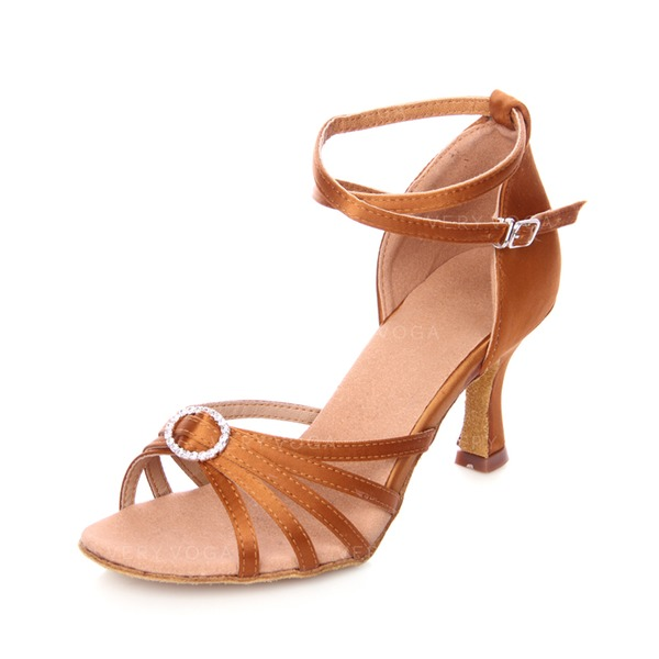 Women's Latin Heels Sandals Satin With Rhinestone Ankle Strap Latin