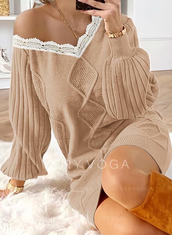 レース/固体 長袖/ランタンスリーブ シフトドレス 膝上 カジュアル セーター ドレス