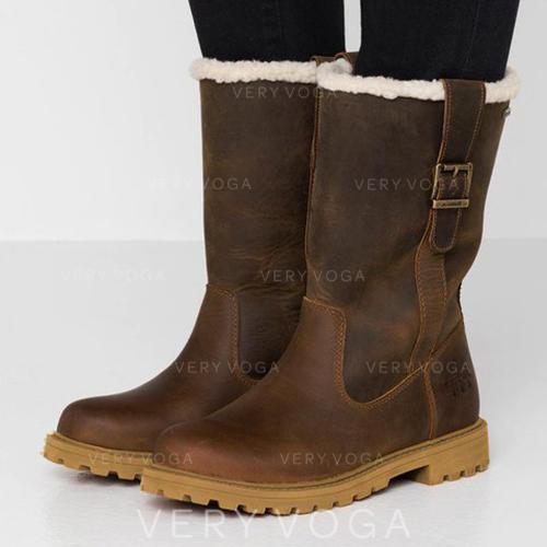 Kvinnor PU Flat Heel Stövlar Halva Vaden Stövlar med Spänne skor