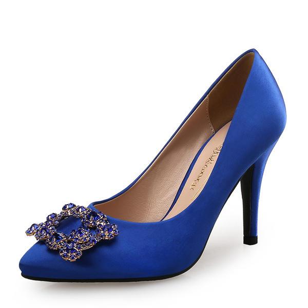 Bayanlar İpek Saten gibi Topuklu ayakkabı Pompalar Ile Kristal ayakkabı