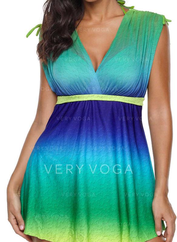 Junção de cores Cinta Decote em V Vintage Fresco Vestidos de banho Maiôs