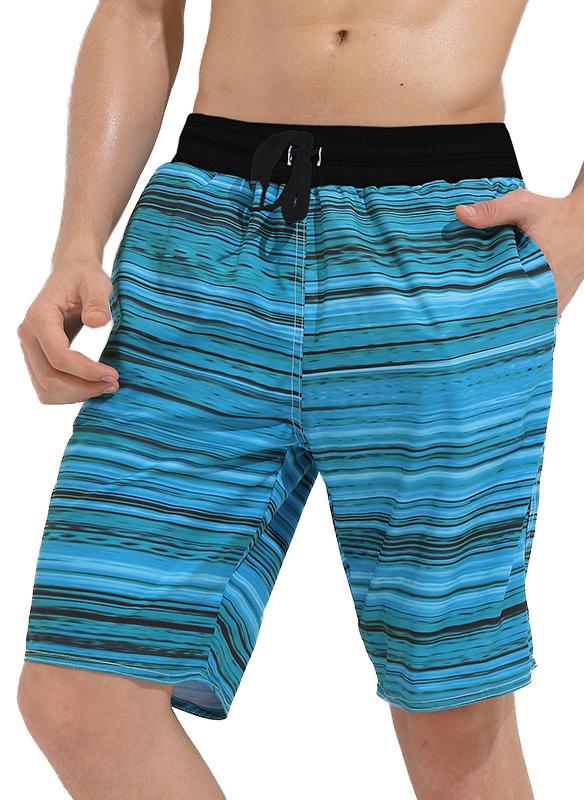Men's Stripe Board Shorts Swimsuit